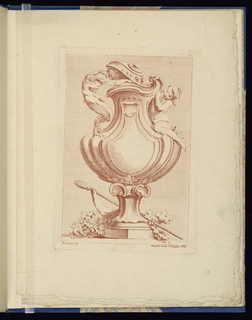 Folio 10, plate 10 of a series of 12. Design for a curving vase influenced by shell forms to be executed in metal, placed on a pedestal. Two figures resting upon the body's curves. At left, a standing satyr peers into the vase, his head holding the lid open. At right, a seated nude woman at the handle.