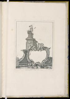 Cartouche design with a statue of Mercury