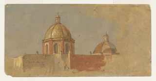 The left dome rises behind a wall.  The tambour is octagonal.  The sections of the dome show two crosses each.  The dome at right is of a wider diameter.  The brown grounding color is shown at right and at the bottom.