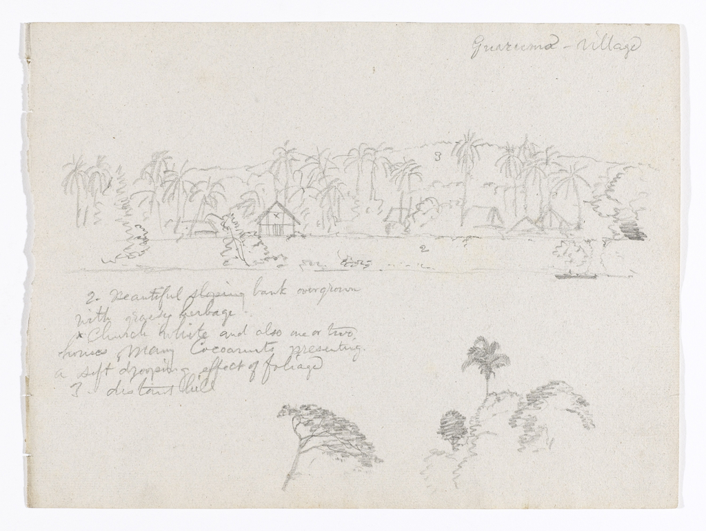 Horizontal view on upper part of the sheet of a steep river bank with a church, houses, many palms and a single boat filling the foreground with hill range in the background, and on the lower part of the sheet a tree top is visible at bottom center and a palm rises over bushes and a tree at bottom right.