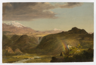 Illuminated by a rainbow, a church in lower right foreground stands on a promontory overlooking lush valley which is bordered by slopes of a high plateau. Chimborazo rises at left out of a range which includes another great mountain, possibly Cotopaxi, seen in the central distance. Dark clouds appear in left sky.