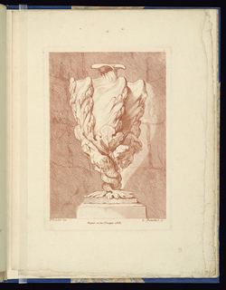 Folio 11, plate 11 of a series of 12. Design for a vase influenced by shell forms to be executed in metal, placed on a pedestal. The body, accentuated with rocky ribs and sea plant forms, rests upon a siren mermaid figure at left and a triton at right, their tails intertwined to form the base.