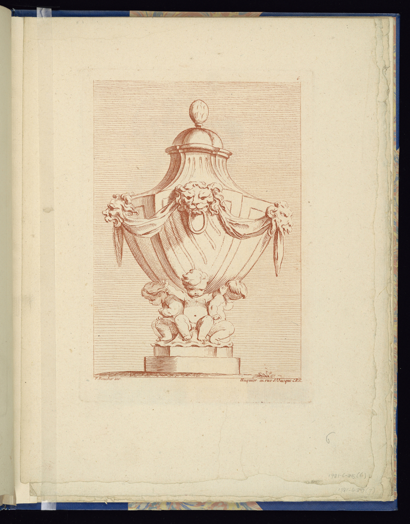 Folio 6, plate 6 of a series of 12. Design for a vase to be executed in metal, placed on a pedestal. Three putti figures support the vase on their backs. Decorating the vase, below the lid, are three lion's masks connected by a festoon.