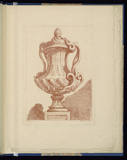 Folio 5, plate 5 of a series of 12. Design for a vase to be executed in metal with curving shell-shaped forms, placed on a pedestal. The handles and lid are made up of the coils of two snakes.