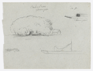 Horizontal sheet containing a series of 4 sketches:  A house stands beside an enormous tree at Mompos, at top left;  a part of a covered canoe, at top right;  tree, at bottom left; and a part of a boat, at right.