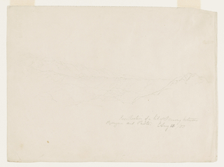 "Horizonal sketch of a mountain range.  Caption below written in pencil: ""Recollection of a bit of scenery/ between Popayan and Pasto.  Aug.13/53"""