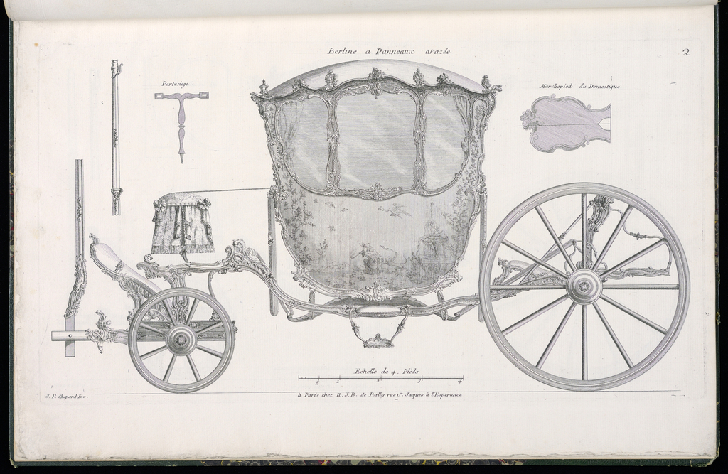 Plate 2, Folio 2 of a series of 13 prints of designs for carriages or coaches. Carriage decorated in Rococo motif, shown in elevation, with details of the various parts at upper left and upper right. The body of the coach consists of a single painted panel featuring a chinoiserie scene of a figure smoking a pipe and holding a monkey in a garden landscape.