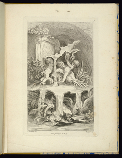 Folio 7, plate 7 of a series of 7. Design for a fountain. Rococo fountain design with three putti playing upon a large shell brimming with water and supporting another shell above their heads.