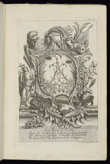 """Cartouche framed with two lions at top, banners, military regalia (helmet, ax), a scale, crown, flowers, and a hand. At left, a holy figure in drapery carrying a wooden cross. Within cartouche, a cipher of the letters """"C"""" and """"A"""" in Rococo style."""