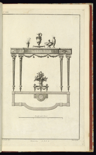 """Elevation of four legged side table in the Neo-Classical style. Tapered legs topped with hybrid capitals a bow-front top ornamented with ribbons and swags. Table is set with an incense burner, an ewer on a serving platter, a wide covered bowl and a vase. A basket of flowers placed on a low pedestal is under the table. The plan view of the table is indicated directly under the elevation. Below the plan is a measure marked off in thirds whit the following inscribtion above: """"Echelle de 3 Pieds"""""""