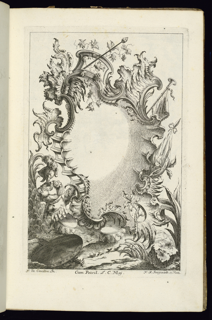 Blank cartouche in Rococo style framed by wine leaves and military weapons; a suit of armor and helmet at lower left. Two drums and a shield at the base.