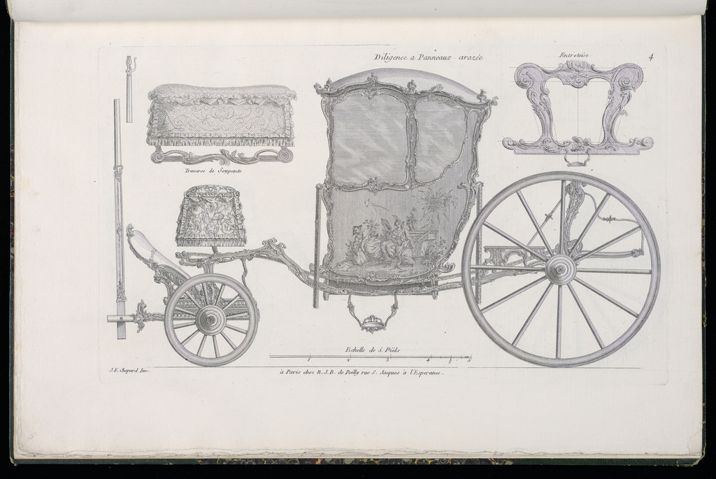 Plate 4, Folio 4 of a series of 13 prints of designs for carriages or coaches. Carriage decorated in Rococo motif, shown in elevation, with details of the various parts at upper left and upper right. The body of the coach is asymmetrical and consists of a single painted panel with decorative mounts, possibly to be executed in bronze. On the panel, a chinoiserie figural scene depicting a man flying a kite and a woman holding a fan near a child in a garden landscape with an oversized flower.