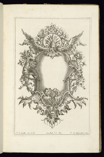 Blank symmetrical cartouche in Rococo topped with a laurel wreath and two wings. Masks at right, left, and bottom.