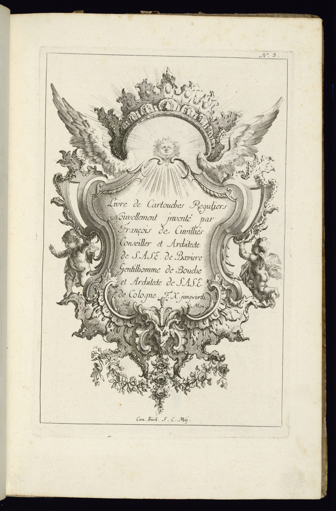 Cartouche topped with a Rococo crown and a pair of wings. Two putti at either side, floral vegetation and ornament.