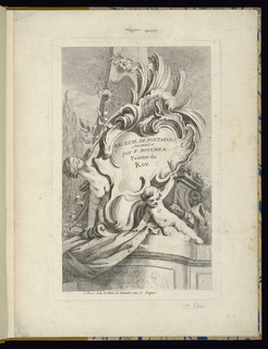 Folio 1, plate 1 of a series of 7. Design for a fountain. Rococo cartouche imposed upon a monument with two surrounding putti.