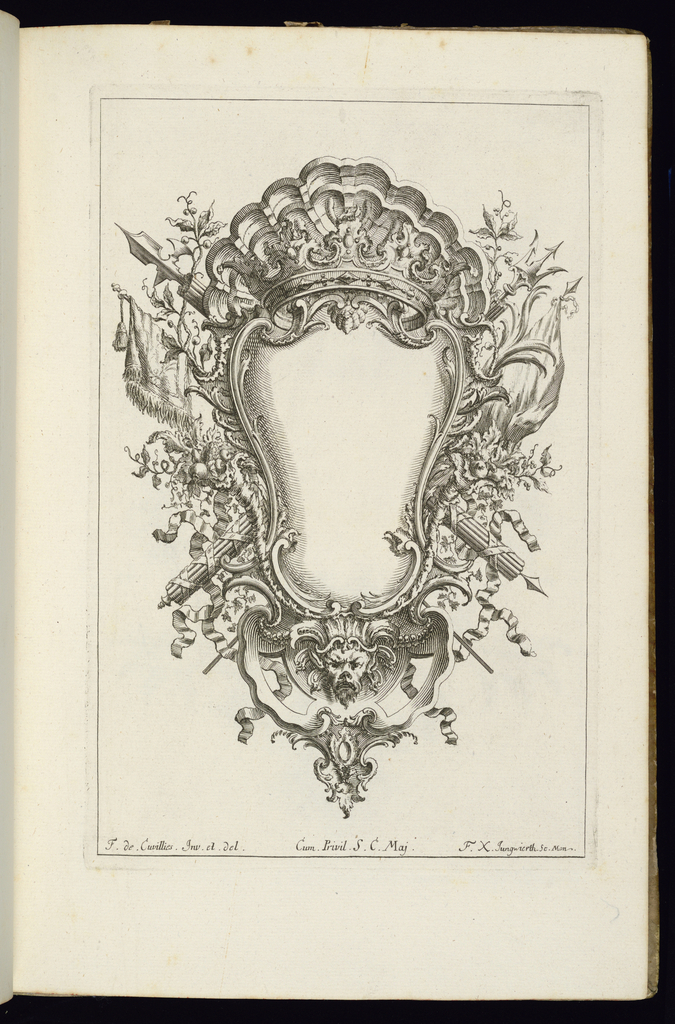 Blank symmetrical cartouche in Rococo style topped with an open crown in front of a shell. Banners and battle weapons surround the frame with a mask below.