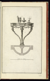 """Elevation of three legged console table in the Neo-Classical style. The legs have a foliate pattern that is caped with a leaf motif. The half-circle table top is ornamented with rinceaux patterns, swags and an architectural entablature motif. The table is set with a tallvase with a curved handle, a large covered jar with an acanthus leaf ornamentation, a wide covered bowl and an incense burner on a plate. The plan view of the table is indicated directly under the elevation. Below the plan is a measure marked off in thirds whit the following inscribtion above: """"Echelle de 3 Pieds"""""""