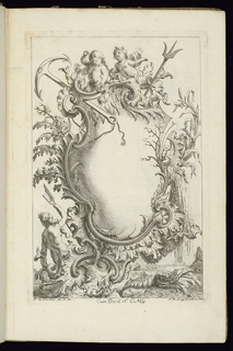Blank cartouche in Rococo style framed with two putti and battle weapons at top. Vegetation and plants at sides. A mermaid at lower left holds a triton. Seascape in the background.
