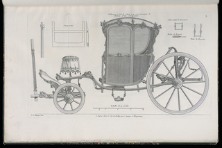 Plate 5, Folio 5 of a series of 13 prints of designs for carriages or coaches. Carriage decorated in Rococo motif, shown in elevation, with details of the various parts at upper left and upper right. The body of the coach is asymmetrical and is made of panels decorated with mounts, possibly executed in bronze. The folding seat shown in elevation at upper left allowed for four passengers to ride in the vehicle.