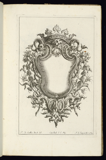 Blank symmetrical cartouche in Rococo style framed with a large crown and two dolphins at top. Bordering vegetal decoration.
