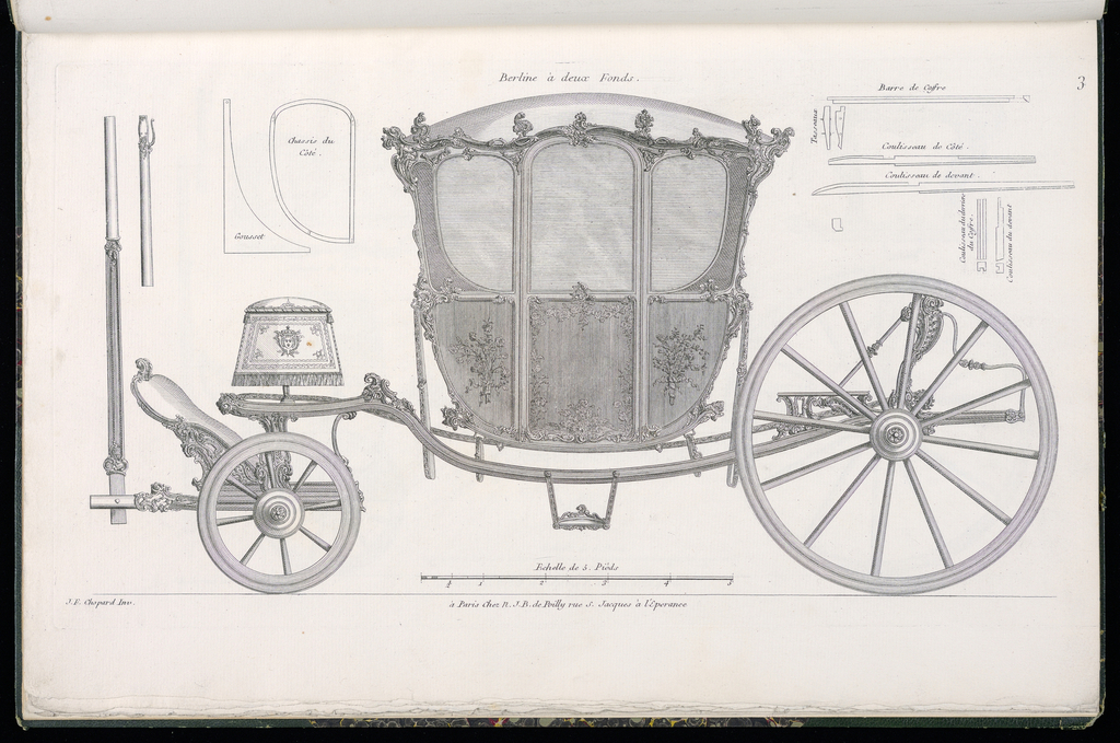 Plate 3, Folio 3 of a series of 13 prints of designs for carriages or coaches. Carriage decorated in Rococo motif, shown in elevation, with details of the various parts at upper left and upper right. The body of the coach consists of painted panels with decorative mounts, likely executed in gilt bronze.