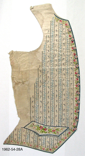 Fragments of an embroidered waistcoat without collar or lining. Cream silk embroidered with pattern of small scattered flowers and trailing leaves with vertical stripes. Embroidered around the collar, front and pocket flaps with a design of  flowers and circles carried out in satin stitch. Silk-covered buttons embroidered with flowers.