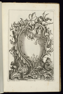 Asymmetrical blank upright cartouche in Rococo style topped with a mercury's staff. Additional weapons, ornament, and vegetation decorate the frame.