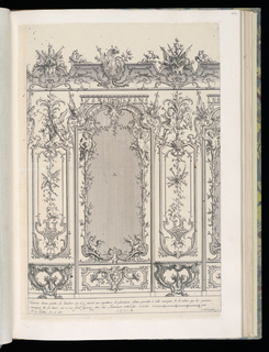 Design for an interior wall decoration with applied ornamental stuccowork. At center, a wall panel with large mirror flanked by two trumeaux with console tables; the pilaster panels decorated with armorial trophies. Scale at lower right.