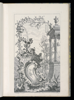 Bound Print, Cartouche with Fountain and Sea Putti, Livre Nouveau de Morceaux de Fantaisie (New Book of Fantasy Pieces)