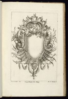 Blank symmetrical upright cartouche in Rococo style with dolphins at left and right. Grape vines at top; rod with draped garland at bottom.