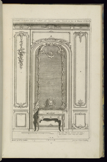 Print, Design for Wainscoting with a Trumeau and a Bureau with a Clock, 1745