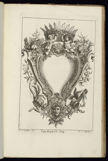 Blank symmetrical upright cartouche in Rococo style topped by two figures of putti genii supporting an open fantasy crown. A mask at lower center. Vegetation and armorial trophies complete the ornamental scheme.