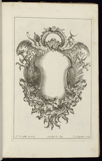 Blank symmetrical cartouche in Rococo style topped by two feathered wings, with large escutcheons at left and right.