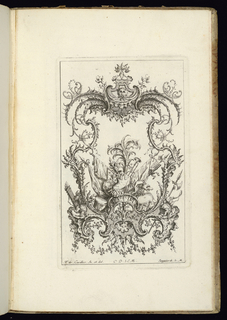 Design for upright symmetrical cartouche, topped with a mask and surrounded by ornamental scrollwork. Within the frame, an elaborate armorial trophy featuring a suit of armor, drums, trumpet, a shield, and banners.