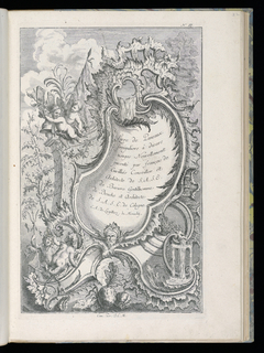 Title plate for a series of designs for irregular panels in Rococo style. Large rocaille cartouche at center with inscription, a mask at the base. At upper left, two putti figures near banners and a helmet. At lower left, two herm figures, one of which holds a triton. Water pours from the top of the cartouche and from the mouth of a dragon at lower right. In the background, trees and clouds.