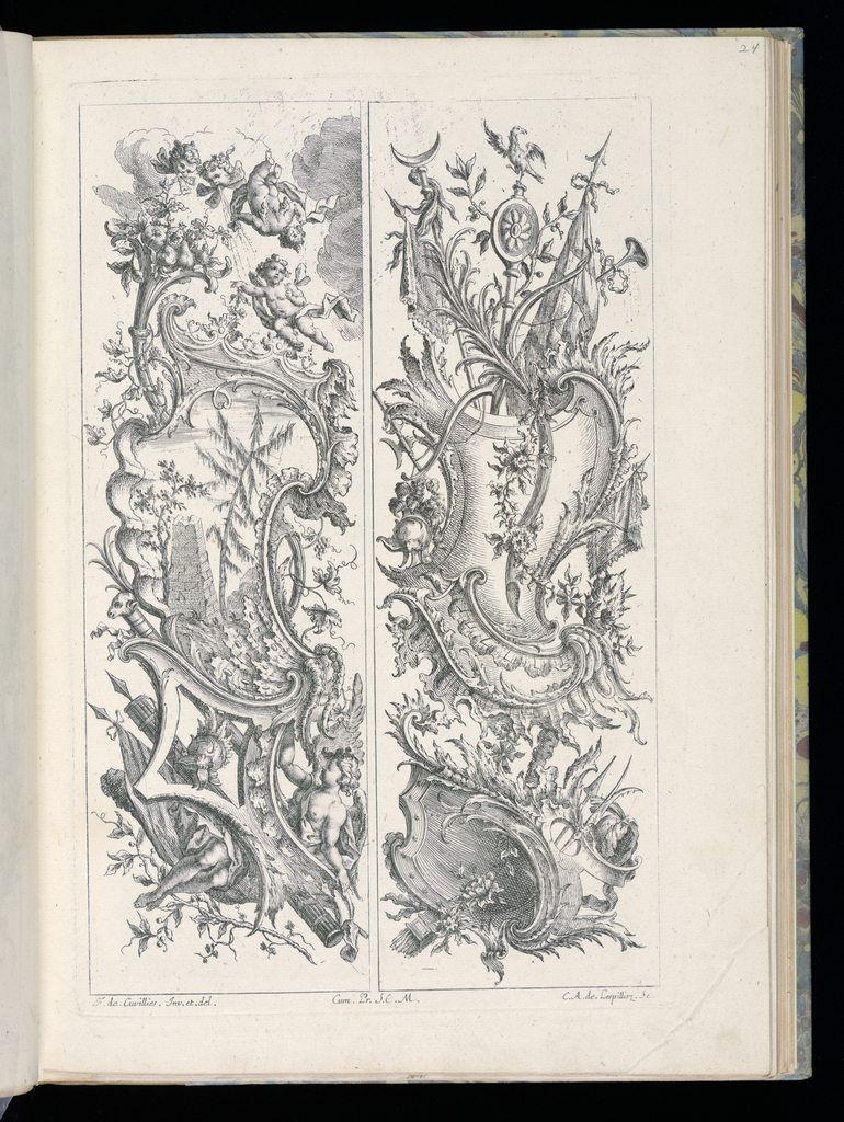 Two designs for upright panels in Rococo style. Left panel: At bottom, a reclining figure (Victory) behind decorative scrollwork, surrounded by armorial trophies (helmet, banner, weapons). Above, at center, a large cartouche with a landscape scene depicting architectural ruins. An obelisk and trees are visible. Above the cartouche, at top: two winds, two flying putti, and fruits. Right panel: at bottom, an escutcheon with armorial trophies. Above, at center, a large cartouche with ornamental trophies extending to the top of the design.