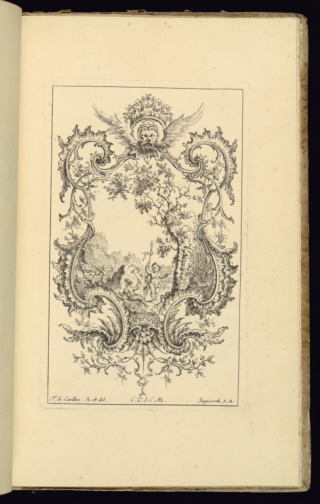 Design for upright symmetrical cartouche, topped by a winged mask and fantasy crown, scrollwork at left and right sides. Within the frame, a landscape scene depicting two putti figures holding staffs or long weapons, sheltered behind a rock. Mountains and a town or village in the background at left.