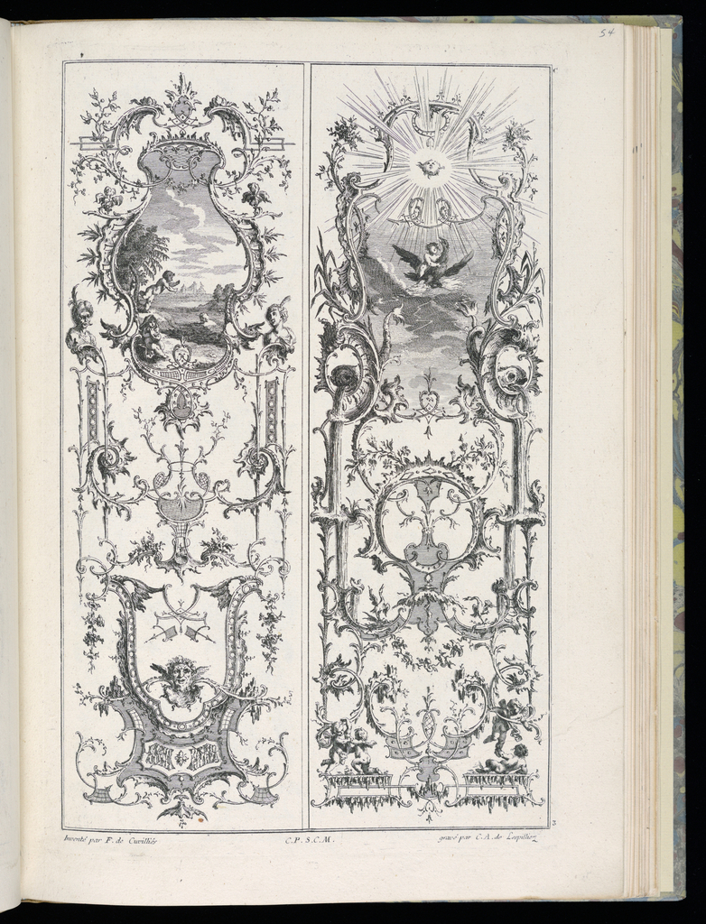 Two designs for upright panels in Rococo style. Left panel: within cartouche at upper center, a scene with three putti figures swimming in a river or lake. On the shore, in the distance, a building. Cartouche framed by busts of a man and woman. Ornamental scrollwork completes the decorative scheme. Right panel: within cartouche at upper center, a scene with a putto figure riding a bird, flying towards the sun. Decorative scrollwork completes the scheme, additional putti playing and reclining at bottom.