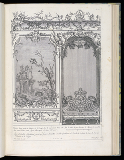 Design for an interior wall decoration with applied ornamental stuccowork. At left, a painted panel or tapestry depicting architectural ruins. At right, an arched niche with a tufted canapé. Scale at lower right.