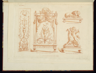 Painted panel with vase in candelabra decoration left; painted firescreen with winged putti standing between two vine scrolls,  two designs for andirons, right, reclining lion (above) and winged putti riding griffon (below).