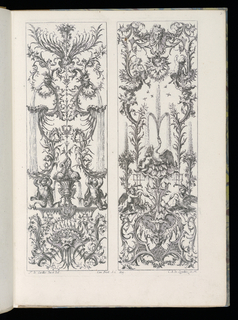 Folio 3, plate 2 of series 6. Within rectangular framing lines, two designs for upright decorative panels in Rococo style. Panel at left: at bottom, a grotesque mask surrounded by decorative scrollwork. Above, an urn with two dolphin fountains, herms at either side. At top, two masks, the mouths of which emit fountains of water. Panel at right: at bottom, a grotesque mask surrounded by decorative scrollwork. Above, a fountain design with putti figures and swans. On garlands above, a herm and a satyr; a mask above them.