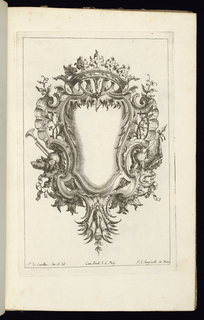 Blank symmetrical cartouche in Rococo style topped by an open crown. Armorial trophies at left and right.