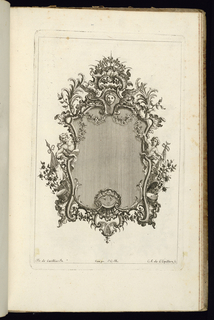 Upright frame design for a mirror or painting, topped by a mascaron and a fantasy crown. Figures of putti at left and right; below them, banners and drums.