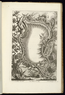Asymmetrical blank upright cartouche in Rococo style topped with a mask; a large tree at left. Shields and vegetation surround the ornamental frame.