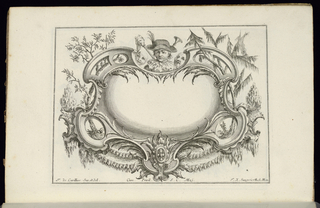 Blank oblong symmetrical cartouche in Rococo style topped by a portrait bust of a male figure wearing a hat and two theatrical masks. Bordering vegetation and plants.