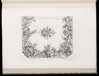 Design for two quarters of a ceiling in the Rococo style with alternate suggestions divided by a central rosette.