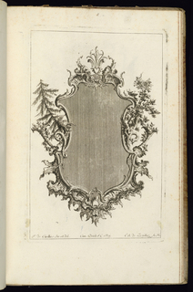 Upright frame design for a mirror or painting, topped by two masks facing each other at center. Trees at either side, with dragons at left and right edges above cornucopias. Leafy vegetal decoration throughout.