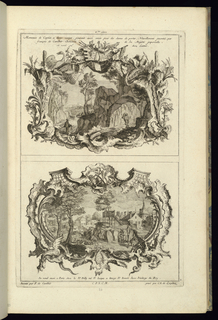 Each plate depicts two oblong Rocaille cartouches, one above the other. Rocaille cartouches with landscapes.
