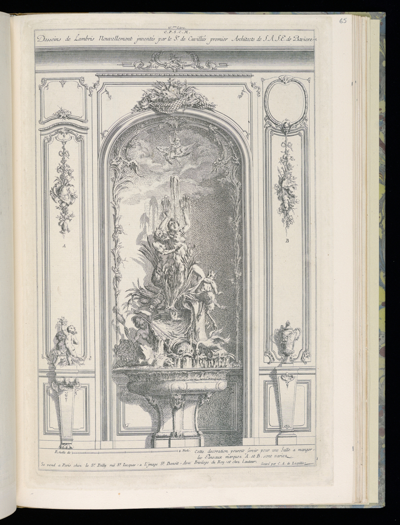Design for an interior wall in Rococo style. An arched niche in center with a sculptural fountain depicting a male herm or merman seizing a female figure, who stands with arms raised. Below, a woman holding a staff pilots a chariot led by dolphins. A wall painting within the surrounding niche; at top, a group of fish, net, and a triton. At either side, small pedestals with a putti group with fruit at left and a vase or urn at right. Above them, panels display different decorative schemes. Scale at lower left.