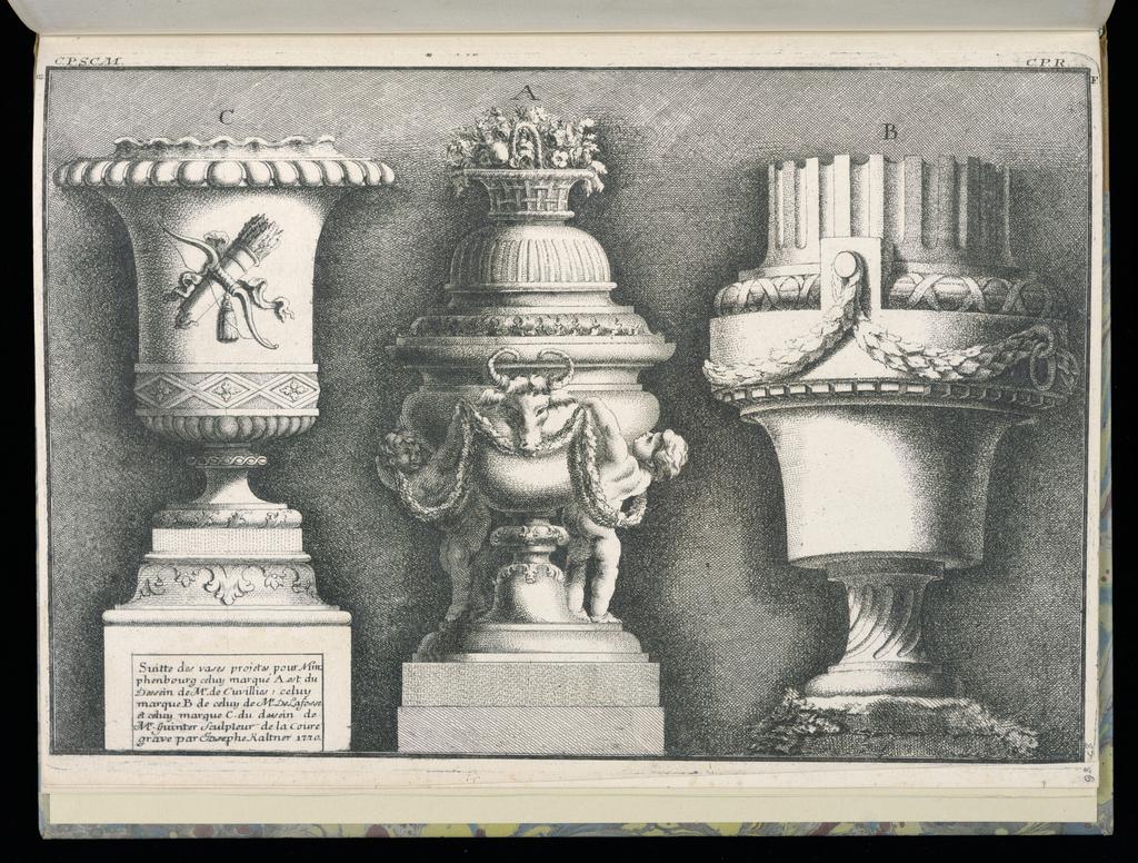 Bound Print, Three Vases, Suitte de vases projetes pour Nimphenbourg (Set of Vases Designed for Nymphenburg)